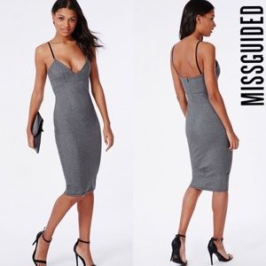 Missguided formfitting grey dress  size 12